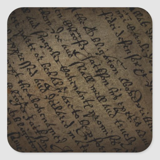 Parchment text with antique writing, old paper square sticker