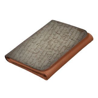 Parchment text with antique writing, old paper leather wallets