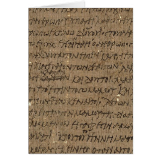 Parchment text with antique writing, papyrus paper greeting card