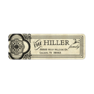 Parchment Typography Vintage Return Address Labels