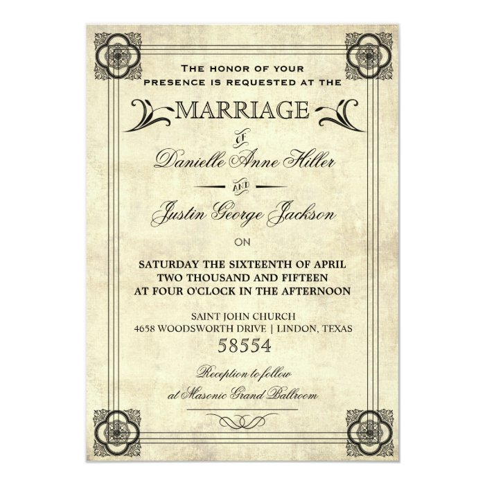 Parchment Typography Vintage Wedding Invitation