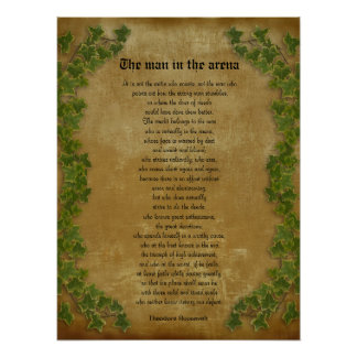 "Parchment with ivy ""The man in the arena"" Poster"