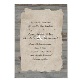 """Parchment Wood Rustic Country Wedding Invitation 5"""" X 7"""" Invitation Card"""