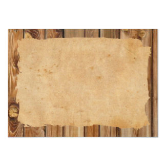 Parchment Wood Rustic Personalized Thank You 4.5x6.25 Paper Invitation Card