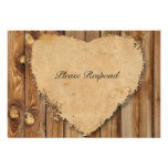 Parchment Wood Tattered Heart rsvp with envelopes Invite