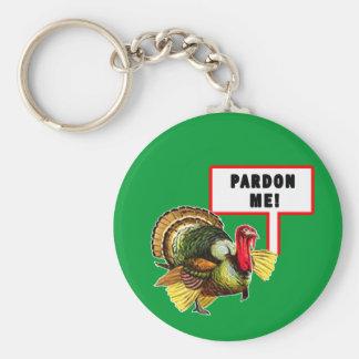 Pardon Me Funny Turkey Day Design Keychain