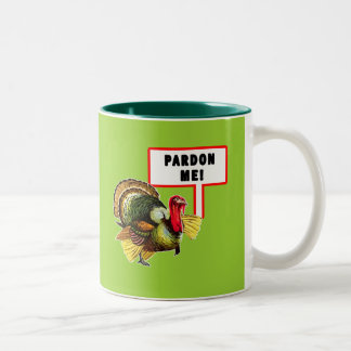 Pardon Me Funny Turkey Day Design Two-Tone Coffee Mug