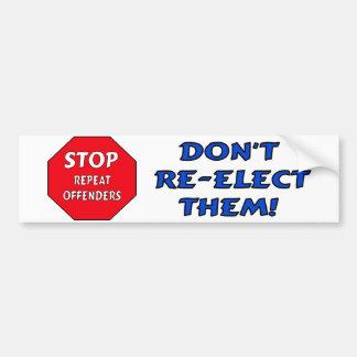Pare a los delincuentes de la repetición etiqueta de parachoque