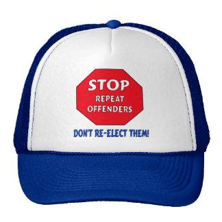 Pare a los delincuentes de la repetición gorro