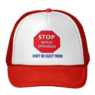 Pare a los delincuentes de la repetición gorros bordados