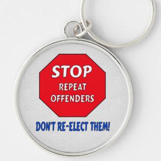 Pare a los delincuentes de la repetición llavero