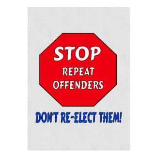 Pare a los delincuentes de la repetición tarjetas de visita grandes
