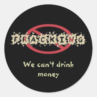 Pare a los pegatinas de Fracking Etiqueta Redonda