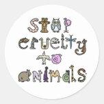 Pare a los pegatinas de la crueldad pegatinas redondas