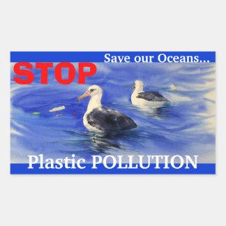 PARE a los pegatinas plásticos de la contaminación Pegatina Rectangular