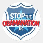 Pare a Obama Etiqueta Redonda