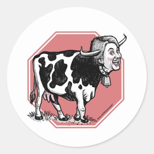 Pare al pegatina de Anti-Hillary de la vaca loca d