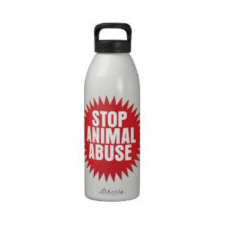 Pare el abuso animal botella de agua