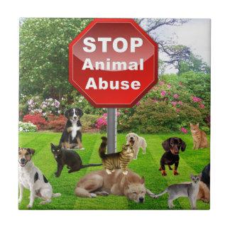 Pare el abuso animal azulejo cuadrado pequeño