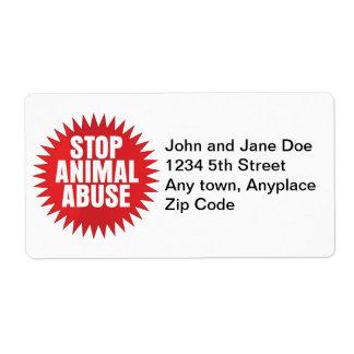 Pare el abuso animal etiquetas de envío