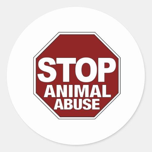 Pare el abuso animal etiquetas redondas