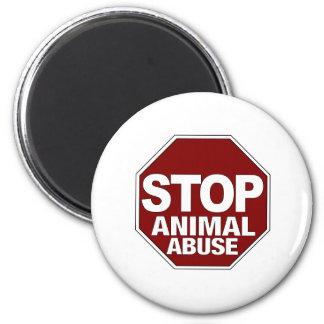 Pare el abuso animal imán redondo 5 cm