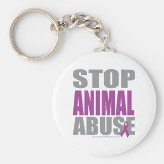 Pare el abuso animal llavero redondo tipo pin