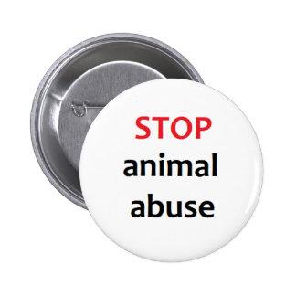 Pare el abuso animal pin redondo de 2 pulgadas