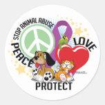 Pare el abuso animal PLP Pegatinas Redondas