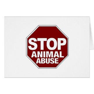 Pare el abuso animal tarjeta de felicitación
