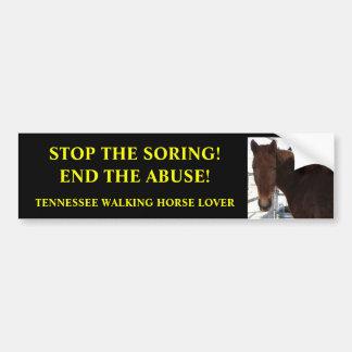 Pare el abuso de los caballos que caminan de Tenne Pegatina De Parachoque