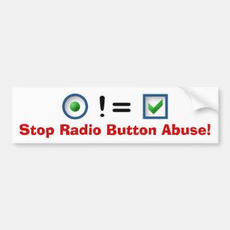 ¡Pare el abuso del botón de radio! Pegatina De Parachoque