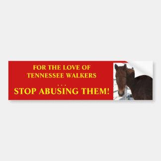 Pare el abuso del caballo - caminante de Tennessee Etiqueta De Parachoque