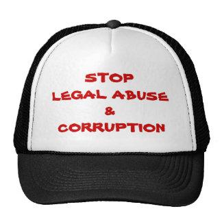 PARE EL ABUSO Y LA CORRUPCIÓN LEGALES GORRAS DE CAMIONERO