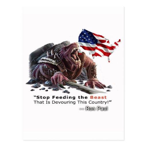 PARE el alimentar de la bestia Postales