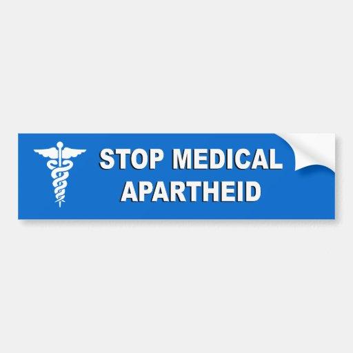 Pare el apartheid médico etiqueta de parachoque