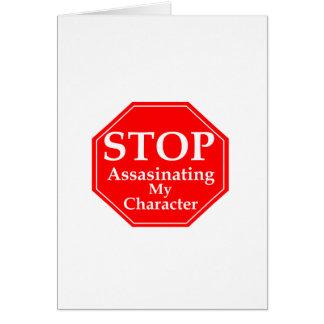 Pare el asesinato de carácter tarjeta de felicitación