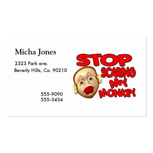 Pare el asustar de mi mono plantillas de tarjetas personales