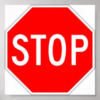 Pare el aviso de la muestra póster