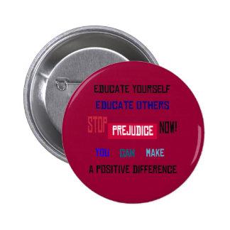 Pare el botón del perjuicio (rojo oscuro) pins