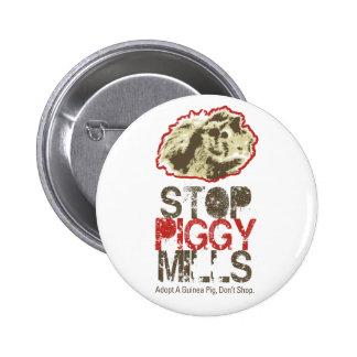 Pare el botón guarro de los molinos - conejillo de pin redondo de 2 pulgadas