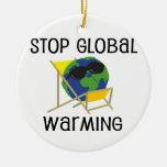 Pare el calentamiento del planeta adorno redondo de cerámica