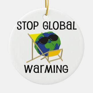 Pare el calentamiento del planeta ornamento de navidad