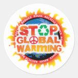 Pare el calentamiento del planeta etiqueta
