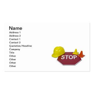 Pare el casco de la muestra tarjetas personales