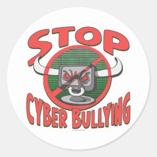 Pare el Cibernético-Tiranizar del engranaje anti Pegatina Redonda