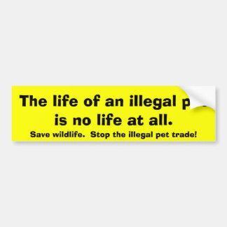 Pare el comercio ilegal del mascota y ahorre la fa pegatina para auto