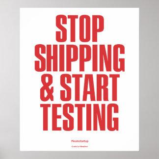 Pare el enviar y comience a probar póster
