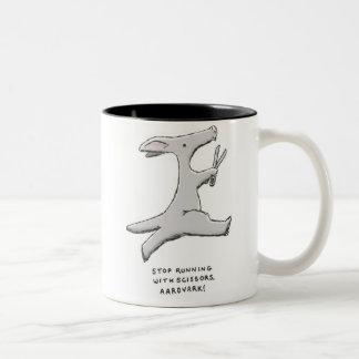 ¡pare el funcionamiento con las tijeras, aardvark! taza de café