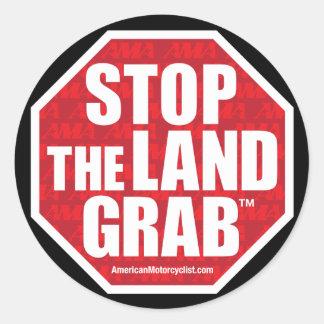 Pare el gancho agarrador de la tierra pegatinas redondas